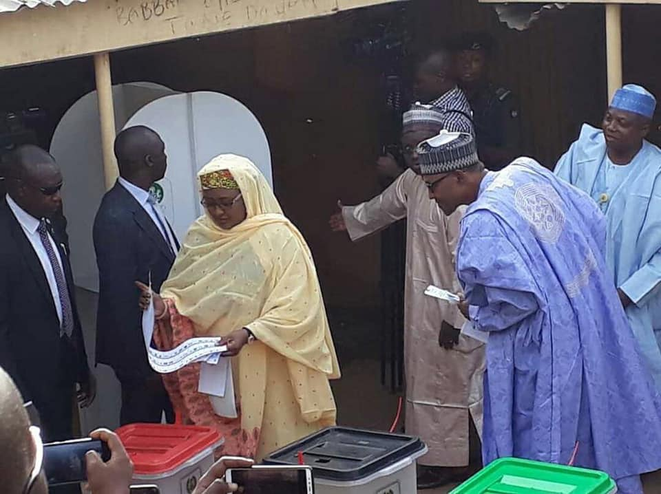 Video of Buhari checking who his wife Aisha voted for