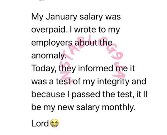 Man Pass Integrity test with over paid salary