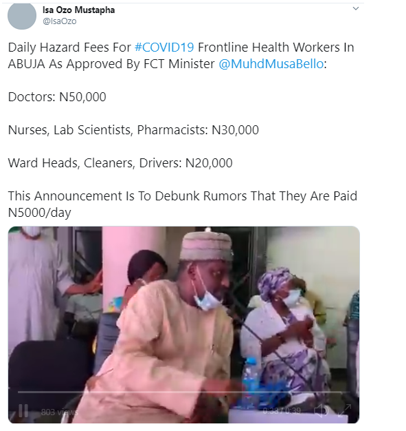 50,000 Naira harzard payment for frontline doctors