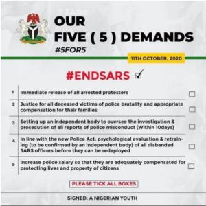 end sars 5 point demand